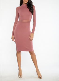 Mesh Detail Mock Neck Bodycon Dress - 1094061639602