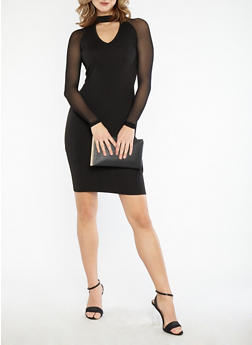 Mesh Sleeve Bodycon Midi Dress - BLACK - 1094061639612