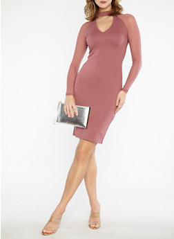 Mesh Sleeve Bodycon Midi Dress - 1094061639612