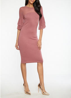 Mesh Tiered Sleeve Bodycon Dress - 1094061639613