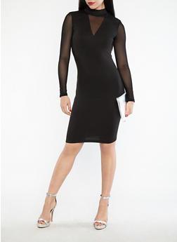Mesh Sleeve Bodycon Dress - BLACK - 1094061639681