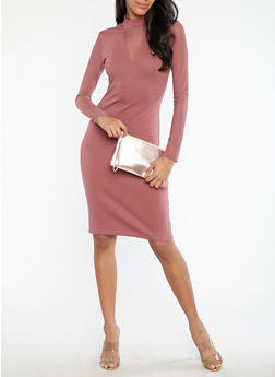 Mesh Sleeve Bodycon Dress - 1094061639681