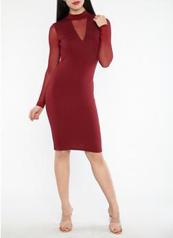 Mesh Sleeve Bodycon Dress - 1094061639681