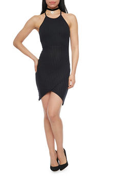 Rib Knit Racerback Tank Dress with Tulip Hem - BLACK - 1094061639890