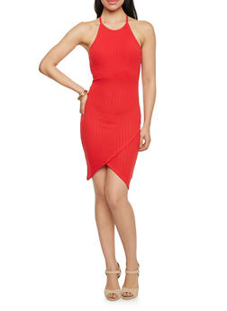 Rib Knit Racerback Tank Dress with Tulip Hem - 1094061639890