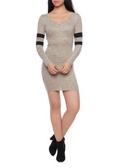 Marled Long Sleeve Bodycon Dress with Varisty Stripes - 1094069390003