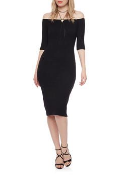 Rib Knit Off The Shoulder Midi Dress - BLACK - 1094069390009