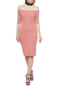 Rib Knit Off The Shoulder Midi Dress - 1094069390009