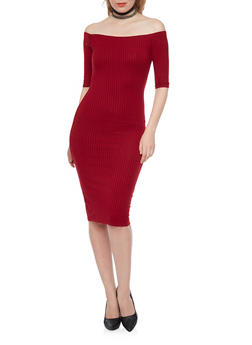 Rib Knit Off The Shoulder Midi Dress - 1094069390009
