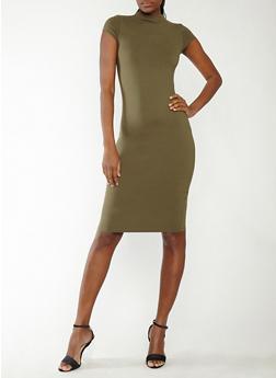 Mock Neck Mid Length Dress - OLIVE - 1094069390026