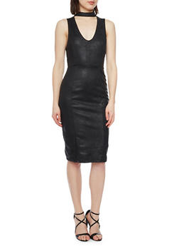 Sleeveless Bodycon Dress with Choker V Neck - BLACK - 1094069390110