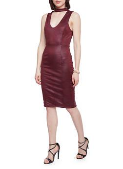 Sleeveless Bodycon Dress with Choker V Neck - BURGUNDY - 1094069390110