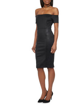 Off the Shoulder Bodycon Dress - BLACK - 1094069390113