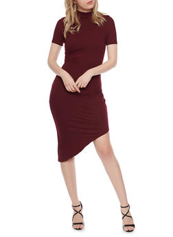 Ruched Bodycon Dress with Asymmetrical Hem - 1094069390115