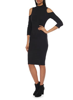 Cold Shoulder Midi Dress with Mockneck - BLACK - 1094069390118