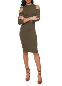 Cold Shoulder Midi Dress with Mockneck - OLIVE - 1094069390118