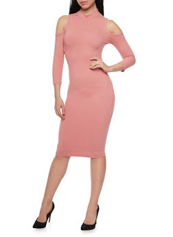 Cold Shoulder Midi Dress with Mockneck - 1094069390118