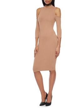 Mid Length Cold Shoulder Mockneck Dress - 1094069390118