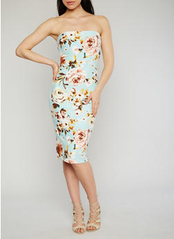 Strapless Floral Bodycon Dress - 1094069390149