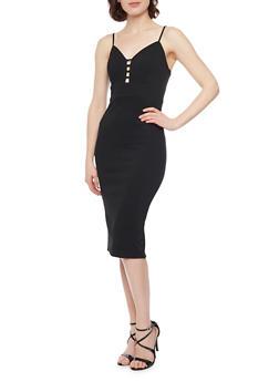 Textured Knit Spaghetti Strap Bodycon Dress - BLACK - 1094069390179