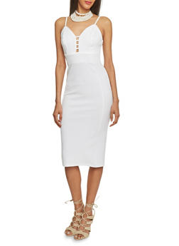 Textured Knit Spaghetti Strap Bodycon Dress - OFF WHITE - 1094069390179