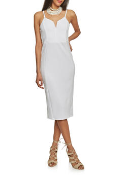 Textured Bodycon Dress with Spaghetti Straps - OFF WHITE - 1094069390180