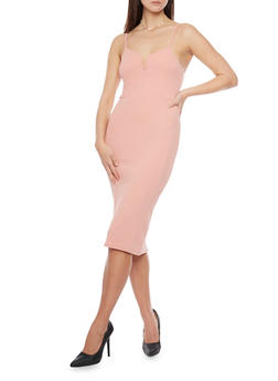 Textured Bodycon Dress with Spaghetti Straps - 1094069390180