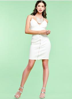 Zip Front Bodycon Dress - 1094069390208