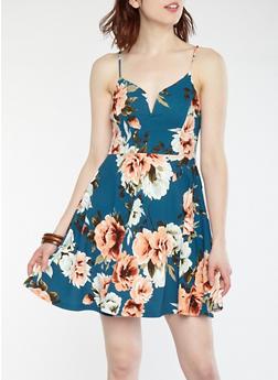 Textured Floral Skater Dress - 1094069391142