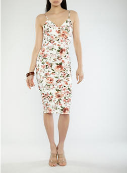 Floral Print Caged Neck Midi Dress - 1094069391179