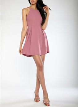 Textured Knit Pleated Skater Dress - 1094069391457