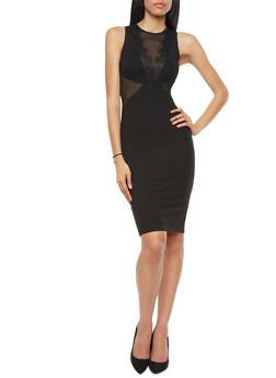 Lace Trim Sheer Cutout Sleeveless Midi Bodycon Dress,BLACK,medium