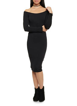 Off the Shoulder Dress with Long Sleeves - BLACK - 1094069392343