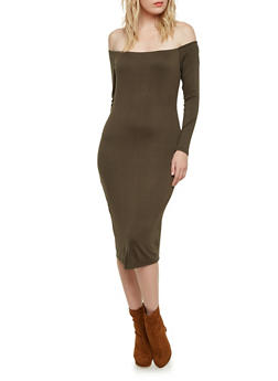 Long Sleeve Off The Shoulder Midi Dress - 1094069392343