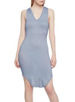 Sleeveless Tank Dress with Stripe Print and Hood - 1094069392446