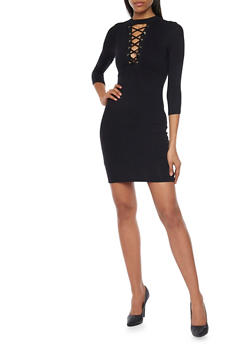 Mock Neck Lace Up Mini Dress - BLACK - 1094069392458