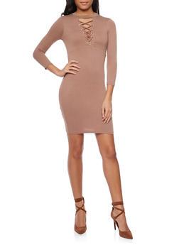 Mock Neck Lace Up Mini Dress - COCO - 1094069392458
