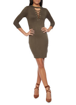 Mock Neck Lace Up Mini Dress - OLIVE - 1094069392458