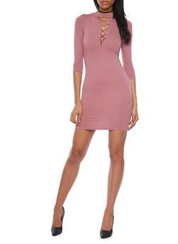 Mock Neck Lace Up Mini Dress - MAUVE - 1094069392458