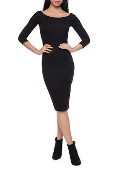 Rib Knit Scoop Neck Midi Dress - BLACK - 1094069392539