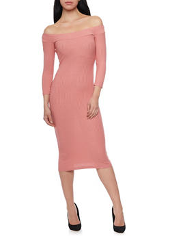 Rib Knit Scoop Neck Midi Dress - 1094069392539