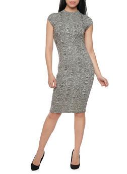 Rib Knit Bodycon Dress with Back Cutout - 1094069392581