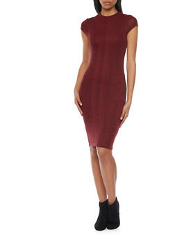 Rib Knit Bodycon Dress with Back Cutout - 1094069392581