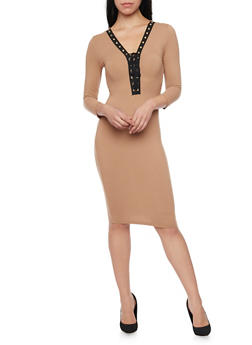 Lace Up Midi Dress with Three Quarter Sleeves - TAUPE - 1094069392624