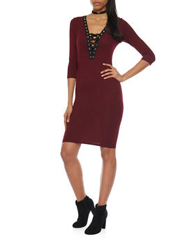 Mid Length Bodycon Dress with Lace Up Neckline - 1094069392624