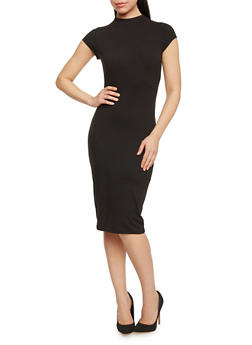 Mid Length Mock Neck Bodycon Dress - BLACK - 1094069392626