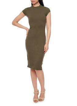 Mid Length Mock Neck Bodycon Dress - 1094069392626