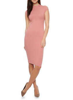 Mid Length Mock Neck Bodycon Dress - 1094069392626