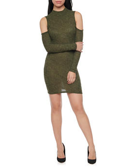 Cold Shoulder Mini Dress in Ribbed Knit - 1094069392640