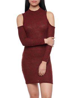 Cold Shoulder Mini Dress in Ribbed Knit - 1094069392640